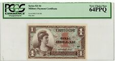 Series 521 $1 Military Payment Certificate PCGS 64 PPQ Plate 65