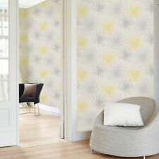 COSMO YELLOW GREY GLITTER FLOWERS TEXTURED FEATURE WALLPAPER GRANDECO A24306