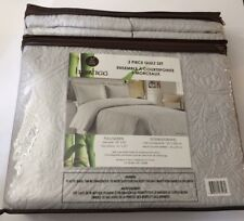 PURE LIVING Bamboo 3 Piece Quilt GRAY Full / Queen
