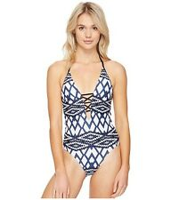 Seafolly Modern Tribe Deep V Maillot One Piece Swimsuit Blue Steel US 10 (AU 14)