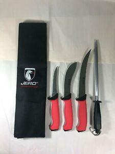 Jero 5PC Deer Hunter Kit + Knife Roll - Hunter,Farmer, Knives,Home Butcher