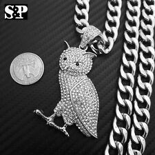"""White Gold PT Full iced Big OWL Pendant & 10mm 30"""" Cuban Chain Hip Hop Necklace"""