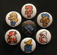 "Final Fantasy NES 7 Button Set - 1"" Pinback Buttons Pins FF1 Nintendo Earthbound"