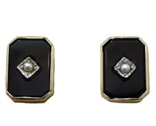 s Genuine REAL 9ct SOLID Yellow Gold Natural ONYX & Pearl Mourning Stud Earrings