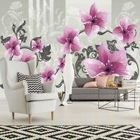 Vlies Fototapete Blumen 3D Lilien Ornament Schlafzimmer Tapete XXL Wandtapete 56