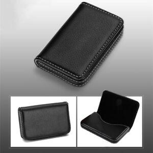New Black Pocket PU Leather Business ID Credit Card Holder Wallet Case