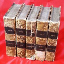 1828 - 5 x Walter Scott en liasse plus Ivanhoé (ex libris) - ancien livre Paquet