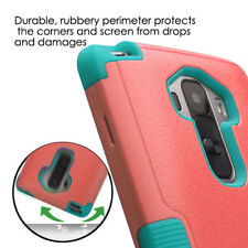 For LG G Stylo LS770 Tuff Rubber Shockproof Armor Hard Phone Case Teal Baby Red