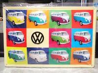 Blechschild VW Bulli Collage Metall Schild 30 cm,Nostalgie Metal Shield,Neu