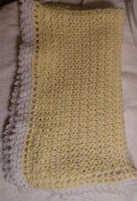Handmade Hand Crocheted Yellow White Baby Blanket Afghan Throw Stroller Cover