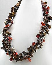"""NATURAL 18"""" Brown & Burnt Orange Stone Necklace Statement Piece Retail $150"""