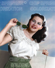 YVONNE DE CARLO WITH SUNGLASSES BEAUTIFUL COLOR PHOTO BY CHIP SPRINGER