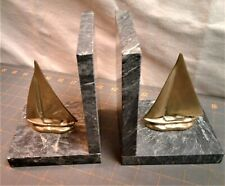Vintage Pair of Bookends Nautical Sailboats Maritime Brass and Marble