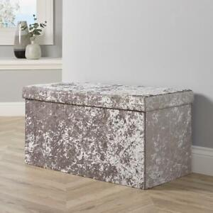 Large Folding Ottoman Silver Ice Velvet Fabric Chest Storage Space Saving Box