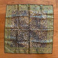 Vintage Tiger Animal Print Italy Silk Hand Rolled POCKET SQUARE Handkerchief