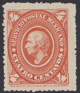 dc49 Mexico #168 4ctv Red Orange Medallion Mint Original Gum VF est