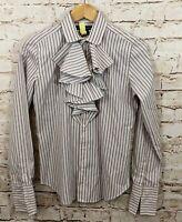 Ralph Lauren sport shirt blouse womens 8 button up ruffle placet purple O1