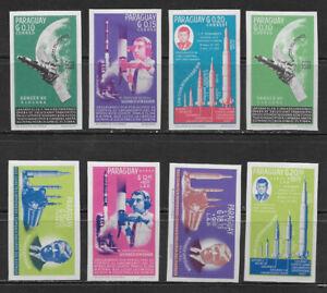 PARAGUAY , 1964 ,  JOHN F KENNEDY , SPACE ,  SET OF 8  IMPERF , VLH , CV$13
