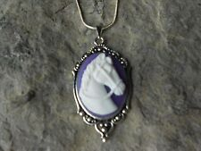 BEAUTIFUL HORSE CAMEO NECKLACE (WHITE ON PURPLE) - HORSE LOVER GIFT