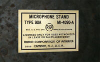 RCA MICROPHONE STAND TYPE 90A STICKER- PAPER TAG REPRO VINTAGE LOOK