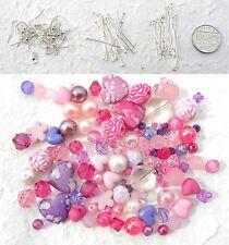 Earring Kit 10 Pink & Purple Beads Earwires Headpins Eyepins Christmas Gift
