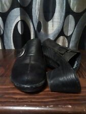 BORN Women Black Leather Clogs Heels Mules Wedge Shoes Buckle size 8 / 39