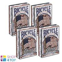 4 Mazos Bicycle Americana Bandera Poker Juego Tarjetas Sellado Caja Uspcc Nuevo