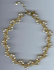 MIRIAM HASKELL VINTAGE GORGEOUS GOLD TONE LINKS BAROQUE PEARL NECKLACE