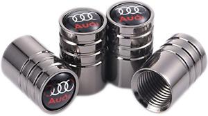4pcs Audi Black Gunmetal Car Tire Wheel Valve Stem Caps A3 A4 A5 A6 Q3 Q5 Q7 R8
