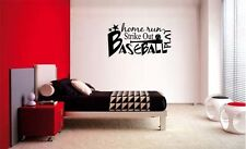 BASEBALL HOME RUN PLAY COLLAGE  LETTERING DECAL WALL VINYL DECOR STICKER SPORTS