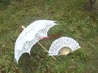 "30"" Handmade Lace Parasol Umbrella & Hand Fan For Wedding Bridal Free Tracking"