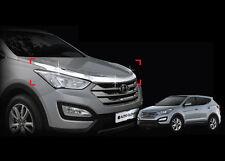 Chrome Front Hood Garnish 3P 1Set For 2013 2017  Hyundai Santa Fe DM