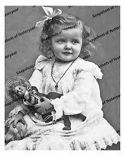 1910s era vintage photo-Beautiful little girl holding doll-white dress-8x10 in