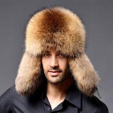 Men's 100% Real Fox Fur Warm Hat Sheepskin Leather Raccoon Fur Russian hat Cap
