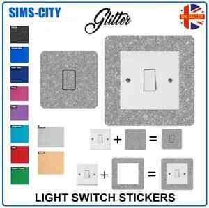 GLITTER FACE AND SURROUND LIGHT SWITCH PLUG SOCKET STICKER VINYL GLI001 - AG