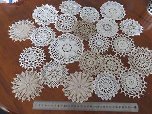 22 pc cotton crochet medallions/ doilies white cream ecru 9-12cm 4 dream catcher