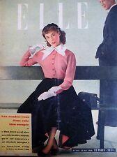 ELLE N° 0182 MARIAGE TAILLEURS FAUX COL SACS A MAIN MODE MAGAZINE FEMININ 1949