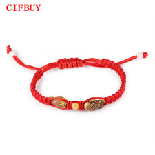 CIFBUY China Luck Red Rope Charm Bracelets Handmade Wood Fish Adjustable Jewelry