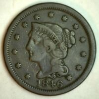 1846 Braided Hair Liberty Head Large Cent US Copper Type Coin VF 1c