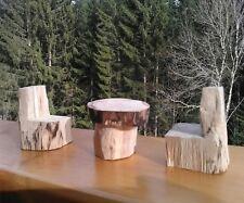 Table et 2 chaises en rondins en bois de hetre fait main - art des montagnes