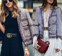 ZARA BLAZER TWEED FRAYED MULTICOLOR BOUCLE GOLD BUTTONS COAT JACKET - XS