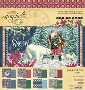Graphic 45 LET IT SNOW 8x8 Paper Pad 24 Sheets Mixed Media Scrapbook Christmas