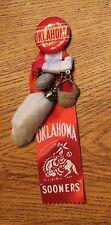 Vintage Oklahoma SOONERS Pin Button Ribbons Leather Football Helmet Rabbits Foot