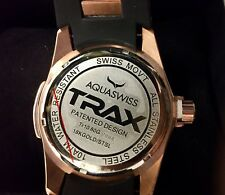 AQUASWISS TRAX TR1080G Mens Watch, 18K Rose Gold Plated with Date, Rubber Strap