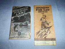 Vintage Fishing Laws Wisconsin 1938 & Michigan 1946