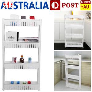 4 Tier Slim Slide Out Kitchen Trolley Rack Holder Storage Shelf Organiser Wheel
