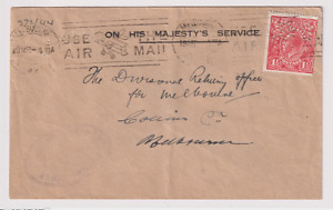 AUSTRALIA  1926: 1½d red Die 1 KGV perf OS on OHMS cover BW 89ba · uncommon
