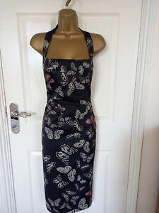 "Karen Millen Size UK-12 lined Halter neck shift dress  BUST 38"""