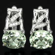 NATURAL AAA GREEN AMETHYST 12X10MM. OVAL & WHITE CZ STERLING 925 SILVER EARRING