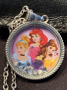 Disney Princess Pendant Necklace Ariel Belle Cinderella Little Mermaid Disneyana
